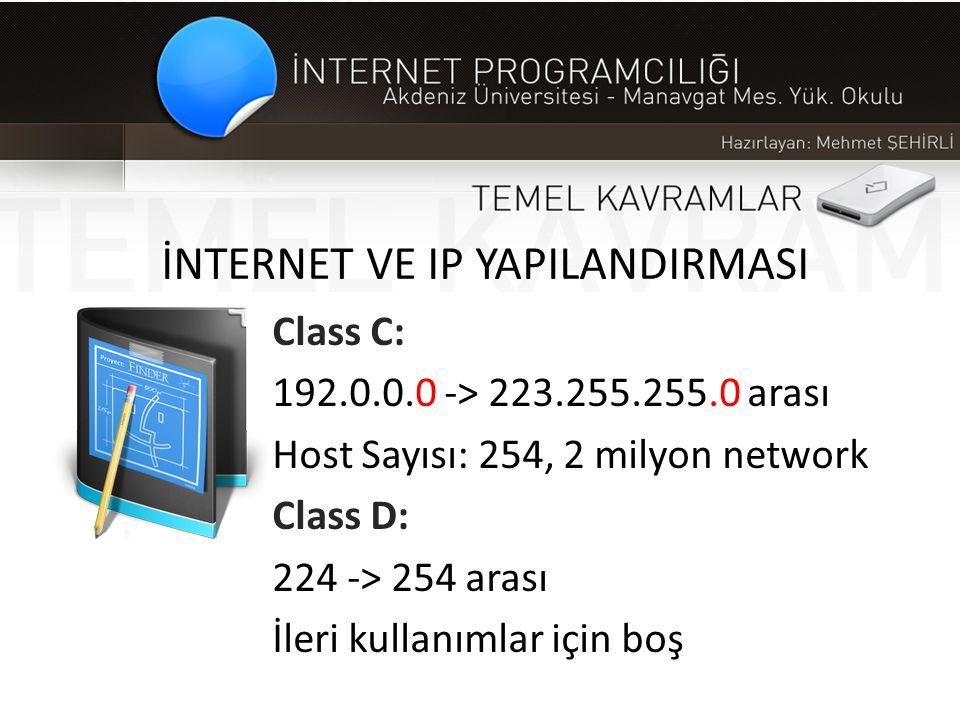 İNTERNET VE IP YAPILANDIRMASI Class C: 192.0.0.0 -> 223.255.255.0 arası Host Sayısı: 254, 2 milyon network Class D: 224 -> 254 arası İleri kullanımlar