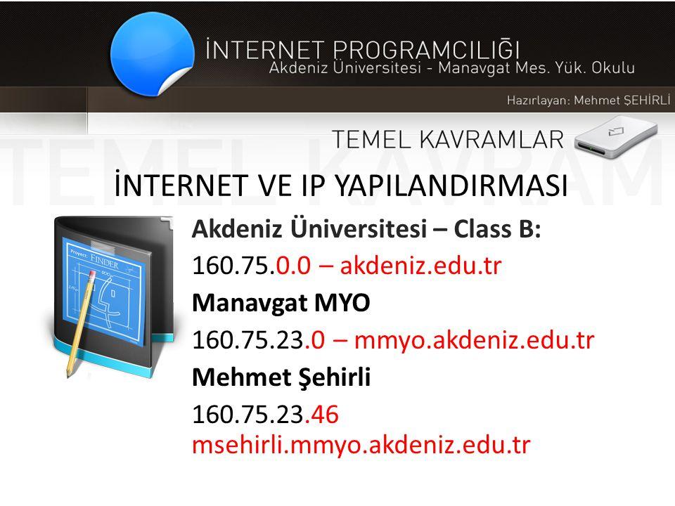 İNTERNET VE IP YAPILANDIRMASI Akdeniz Üniversitesi – Class B: 160.75.0.0 – akdeniz.edu.tr Manavgat MYO 160.75.23.0 – mmyo.akdeniz.edu.tr Mehmet Şehirl