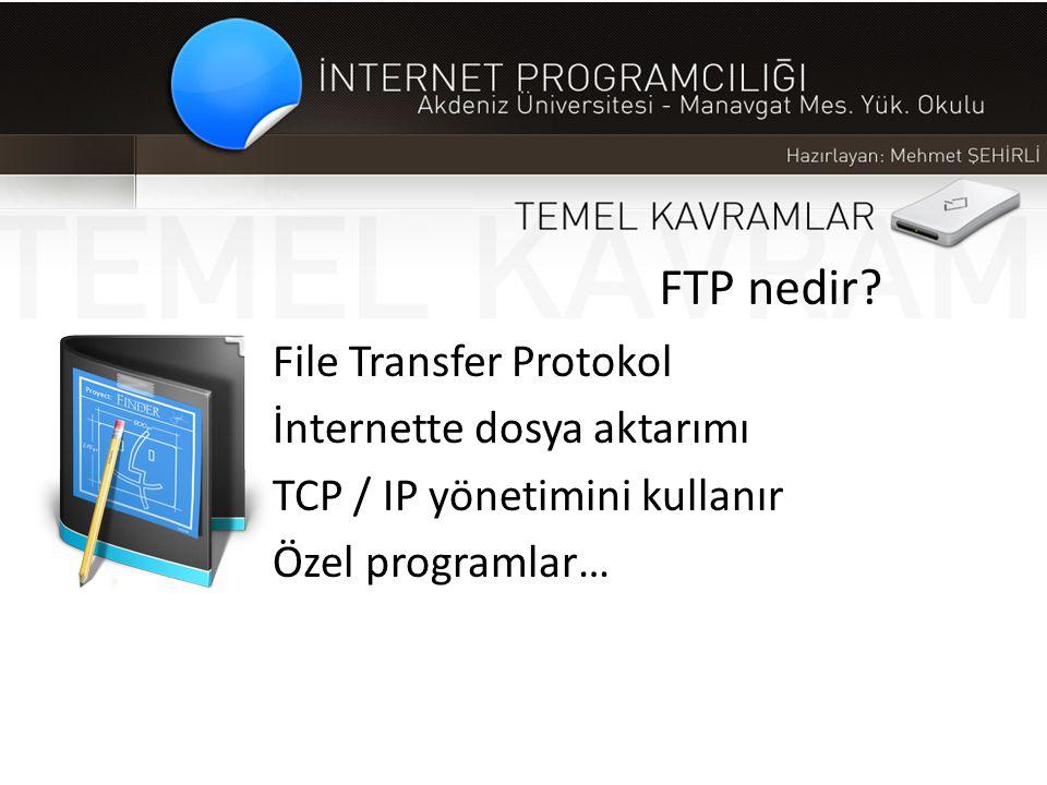 FTP nedir? File Transfer Protokol İnternette dosya aktarımı TCP / IP yönetimini kullanır Özel programlar…