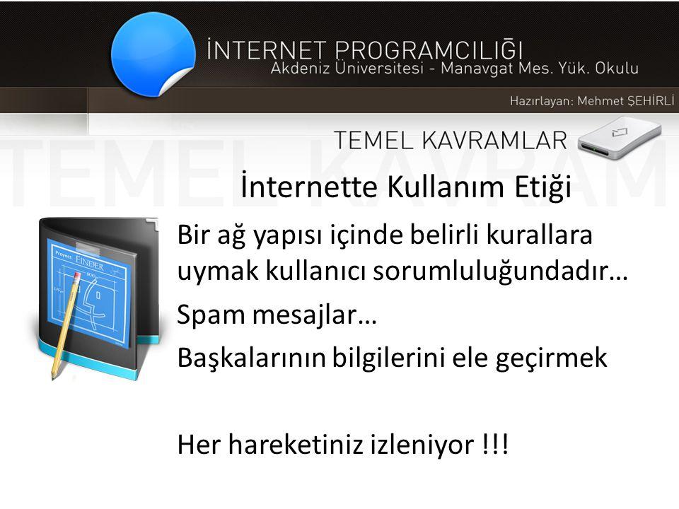 İnternette Kullanım Etiği Bir ağ yapısı içinde belirli kurallara uymak kullanıcı sorumluluğundadır… Spam mesajlar… Başkalarının bilgilerini ele geçirm