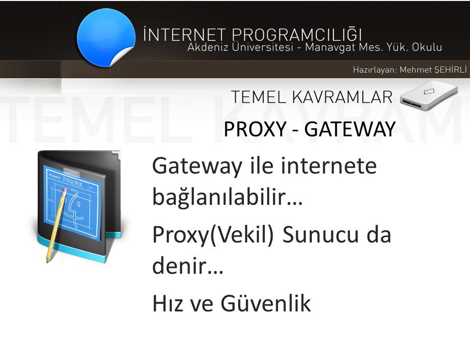 PROXY - GATEWAY Gateway ile internete bağlanılabilir… Proxy(Vekil) Sunucu da denir… Hız ve Güvenlik