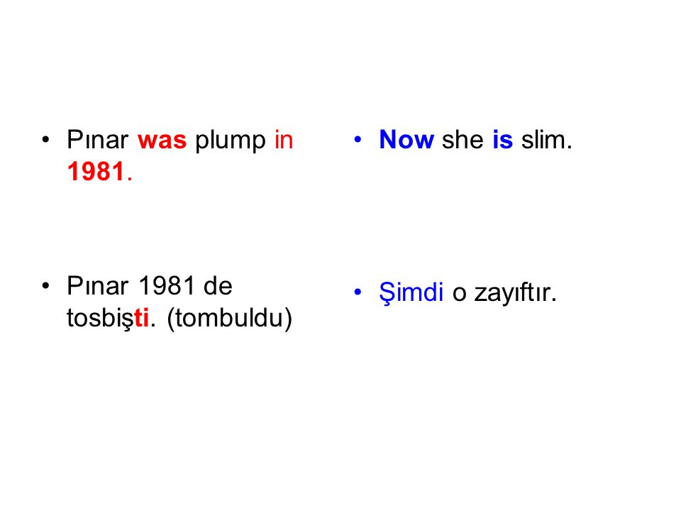 Pınar was plump in 1981. Pınar 1981 de tosbişti. (tombuldu) Now she is slim. Şimdi o zayıftır.