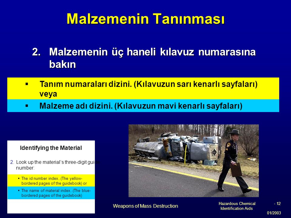 Hazardous Chemical Identification Aids 01/2003 Weapons of Mass Destruction - 12 Malzemenin Tanınması 2.Malzemenin üç haneli kılavuz numarasına bakın 