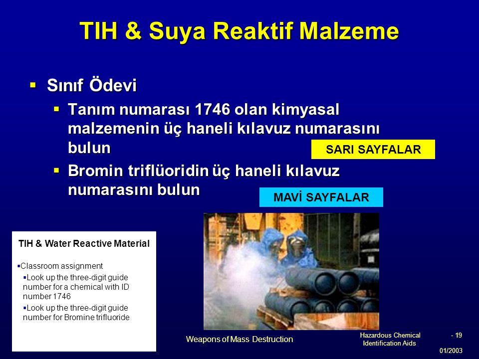 Hazardous Chemical Identification Aids 01/2003 Weapons of Mass Destruction - 19 TIH & Suya Reaktif Malzeme  Sınıf Ödevi  Tanım numarası 1746 olan ki