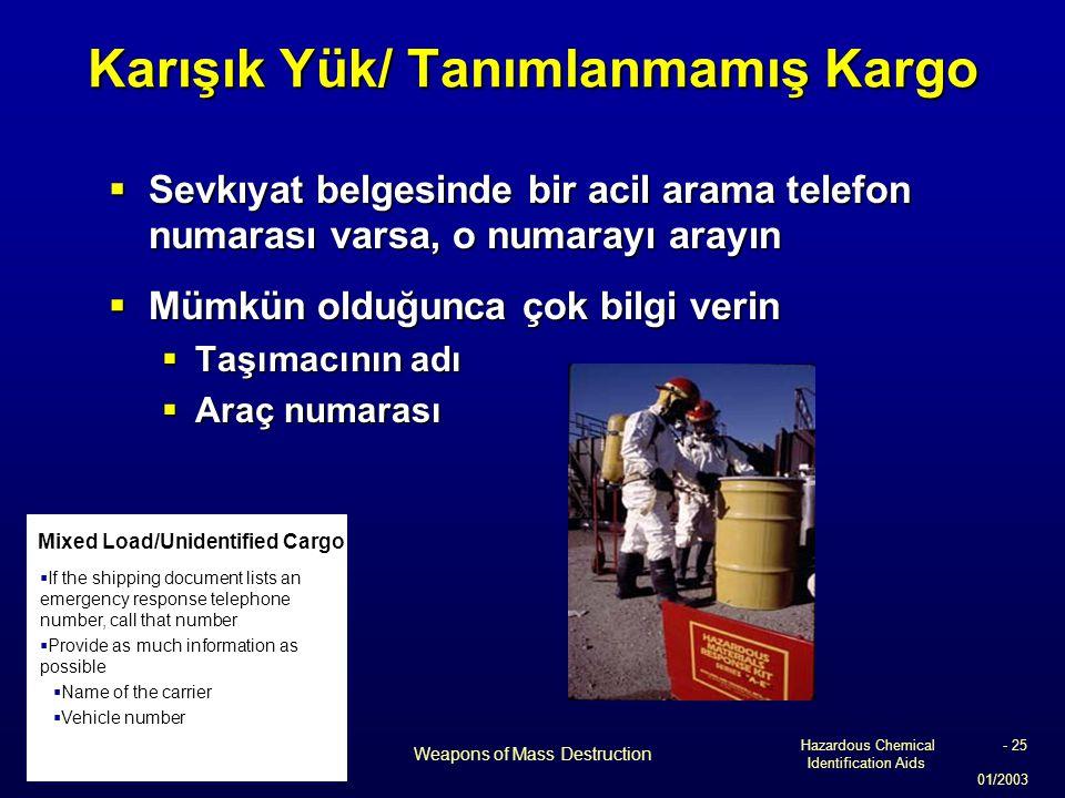 Hazardous Chemical Identification Aids 01/2003 Weapons of Mass Destruction - 25 Karışık Yük/ Tanımlanmamış Kargo  Sevkıyat belgesinde bir acil arama