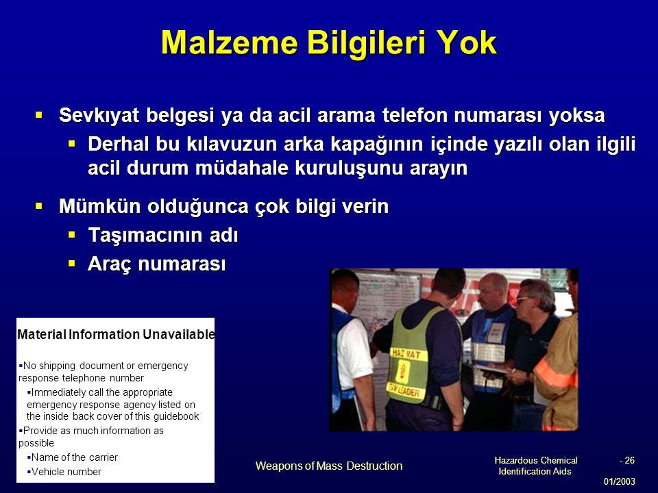Hazardous Chemical Identification Aids 01/2003 Weapons of Mass Destruction - 26 Malzeme Bilgileri Yok  Sevkıyat belgesi ya da acil arama telefon numa