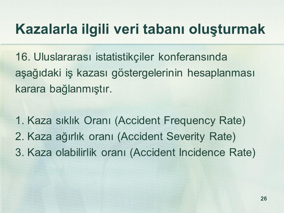 26 Kazalarla ilgili veri tabanı oluşturmak 16.