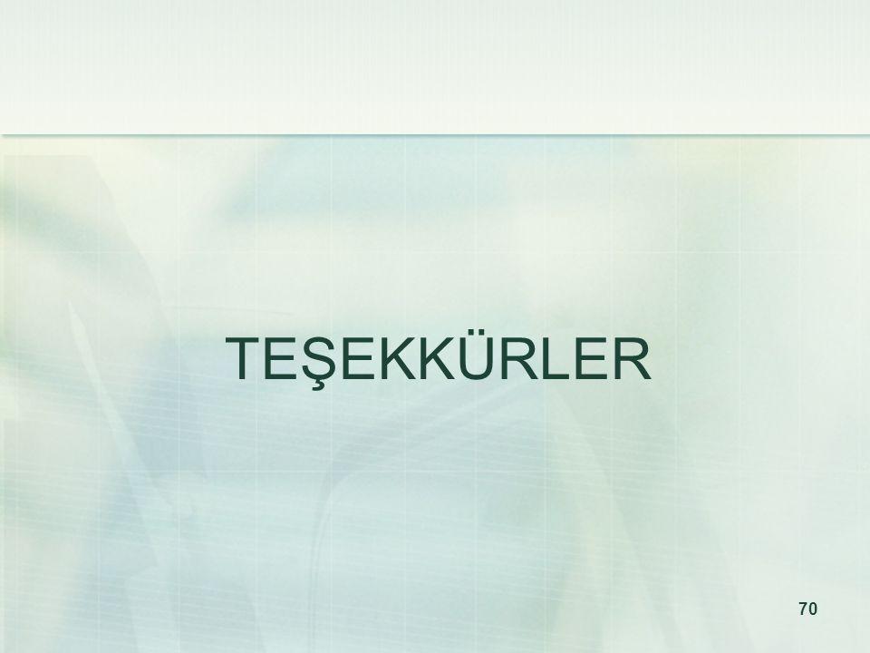 70 TEŞEKKÜRLER