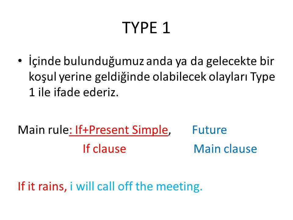 TYPE 1 İçinde bulunduğumuz anda ya da gelecekte bir koşul yerine geldiğinde olabilecek olayları Type 1 ile ifade ederiz. Main rule: If+Present Simple,