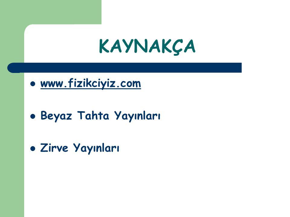 KAYNAKÇA www.fizikciyiz.com Beyaz Tahta Yayınları Zirve Yayınları