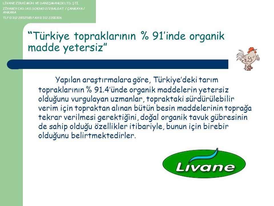 """""""Türkiye topraklarının % 91'inde organik madde yetersiz"""" Yapılan araştırmalara göre, Türkiye'deki tarım topraklarının % 91.4'ünde organik maddelerin y"""