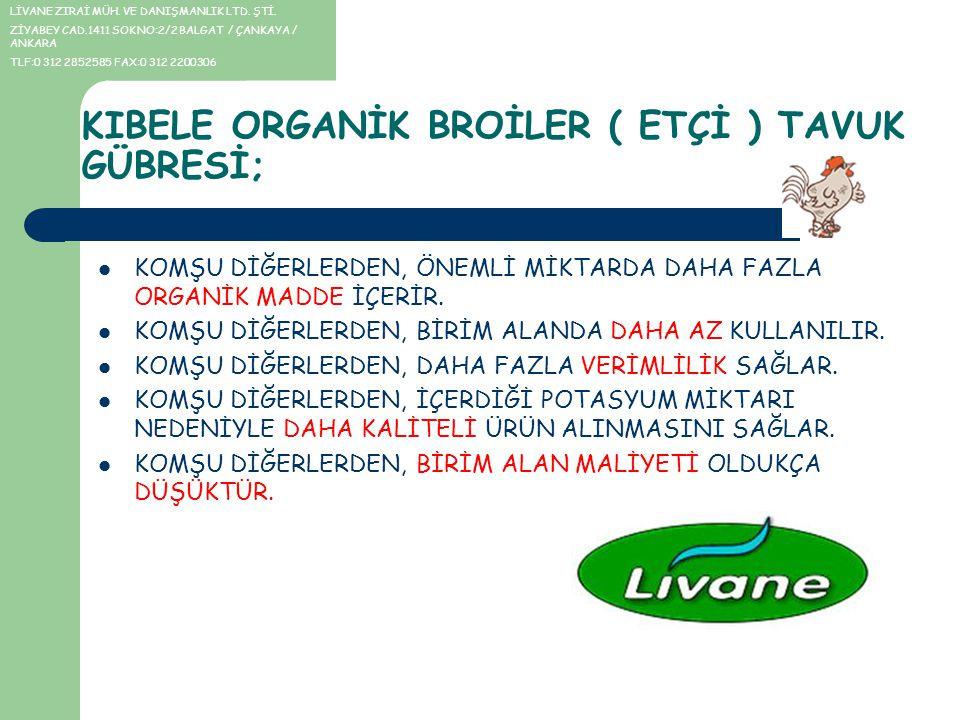 KARŞILAŞTIRMA Kıbele Broiler Gübresi, kullanım miktarı olarak; diğer hayvansal menşeyli gübrelere göre 1,5-2,5 kat (ürüne, toprağa bağlı olarak) daha az kullanılır.