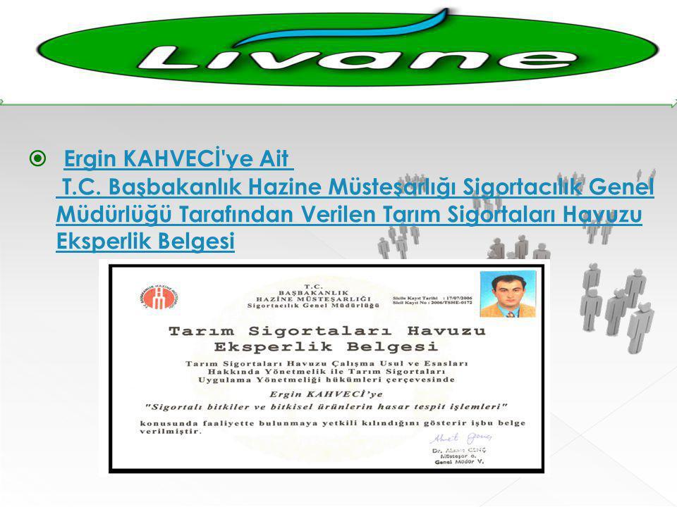  Ergin KAHVECİ'ye Ait T.C. Başbakanlık Hazine Müsteşarlığı Sigortacılık Genel Müdürlüğü Tarafından Verilen Tarım Sigortaları Havuzu Eksperlik Belgesi