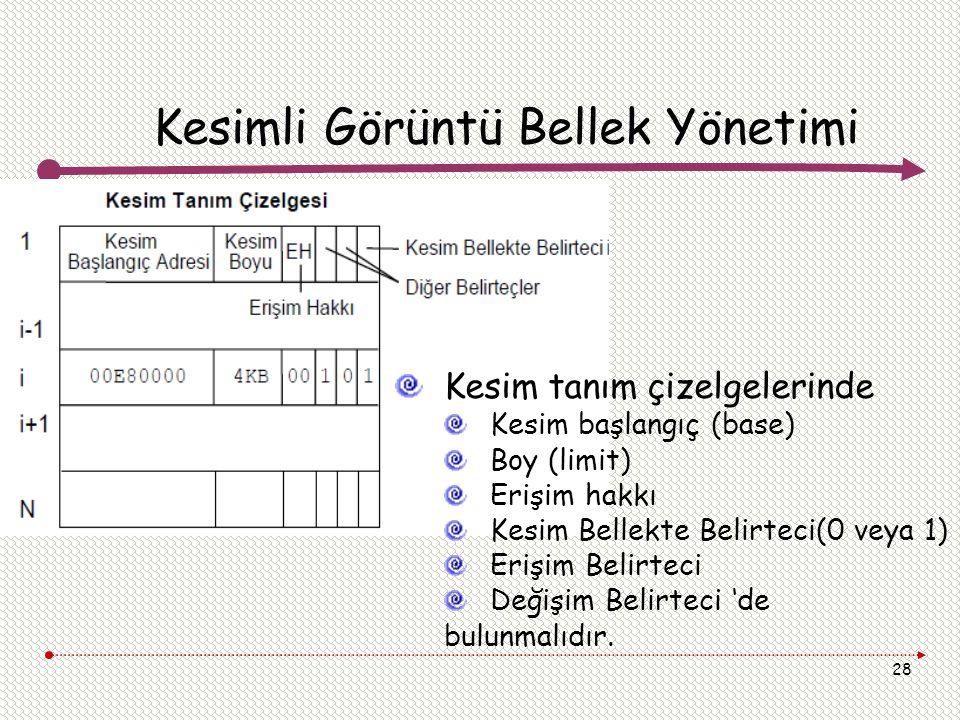 28 Kesimli Görüntü Bellek Yönetimi Kesim tanım çizelgelerinde Kesim başlangıç (base) Boy (limit) Erişim hakkı Kesim Bellekte Belirteci(0 veya 1) Erişi