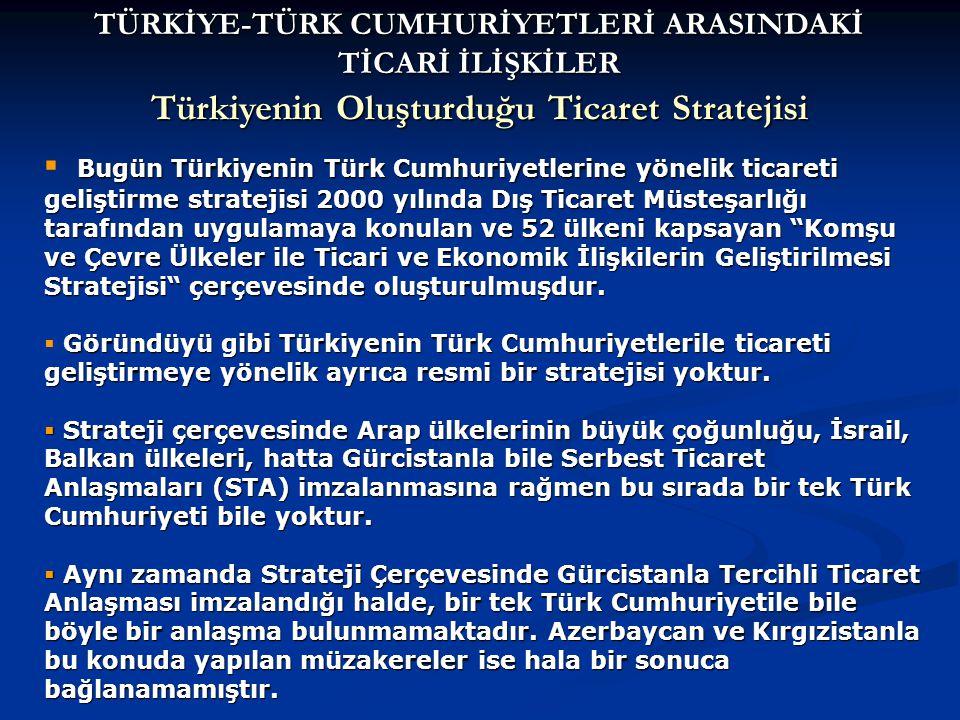 Bugün Türkiyenin Türk Cumhuriyetlerine yönelik ticareti geliştirme stratejisi 2000 yılında Dış Ticaret Müsteşarlığı tarafından uygulamaya konulan ve 52 ülkeni kapsayan Komşu ve Çevre Ülkeler ile Ticari ve Ekonomik İlişkilerin Geliştirilmesi Stratejisi çerçevesinde oluşturulmuşdur.