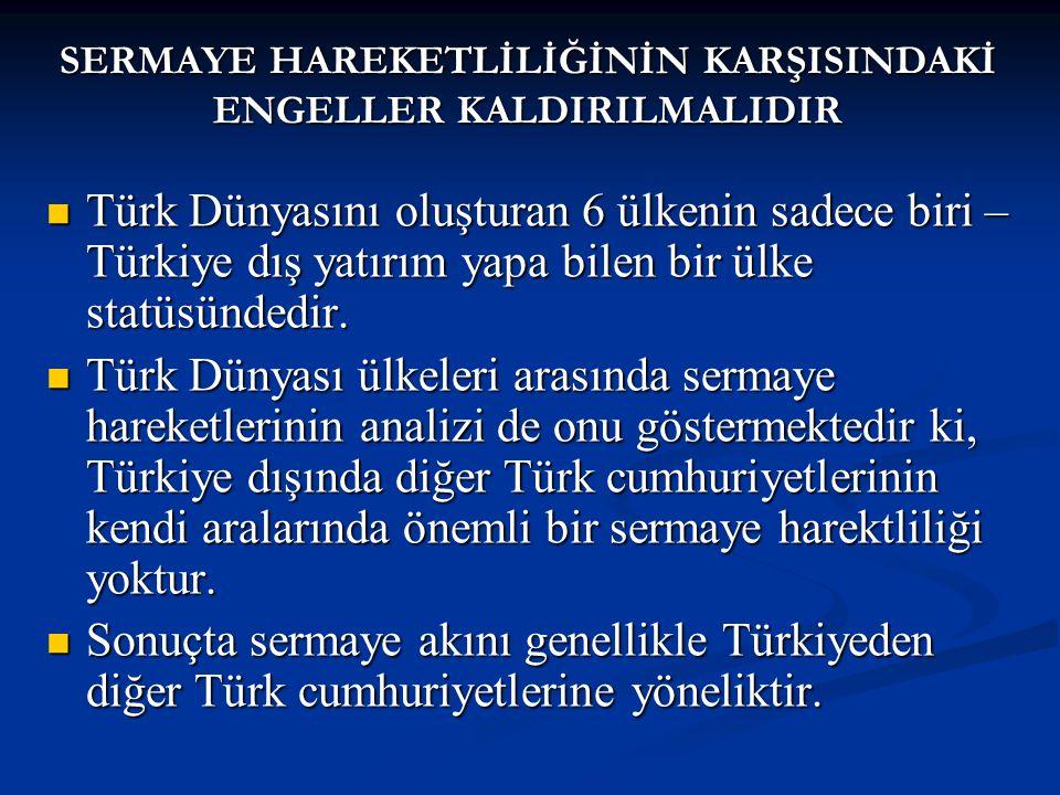 Türk Dünyasını oluşturan 6 ülkenin sadece biri – Türkiye dış yatırım yapa bilen bir ülke statüsündedir.