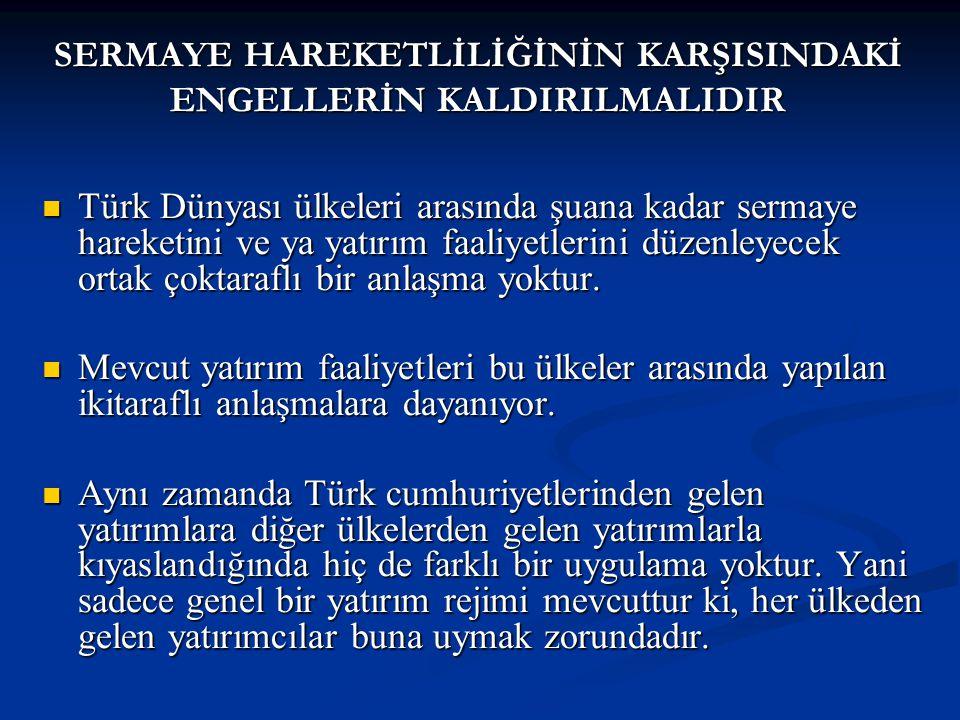 Türk Dünyası ülkeleri arasında şuana kadar sermaye hareketini ve ya yatırım faaliyetlerini düzenleyecek ortak çoktaraflı bir anlaşma yoktur.