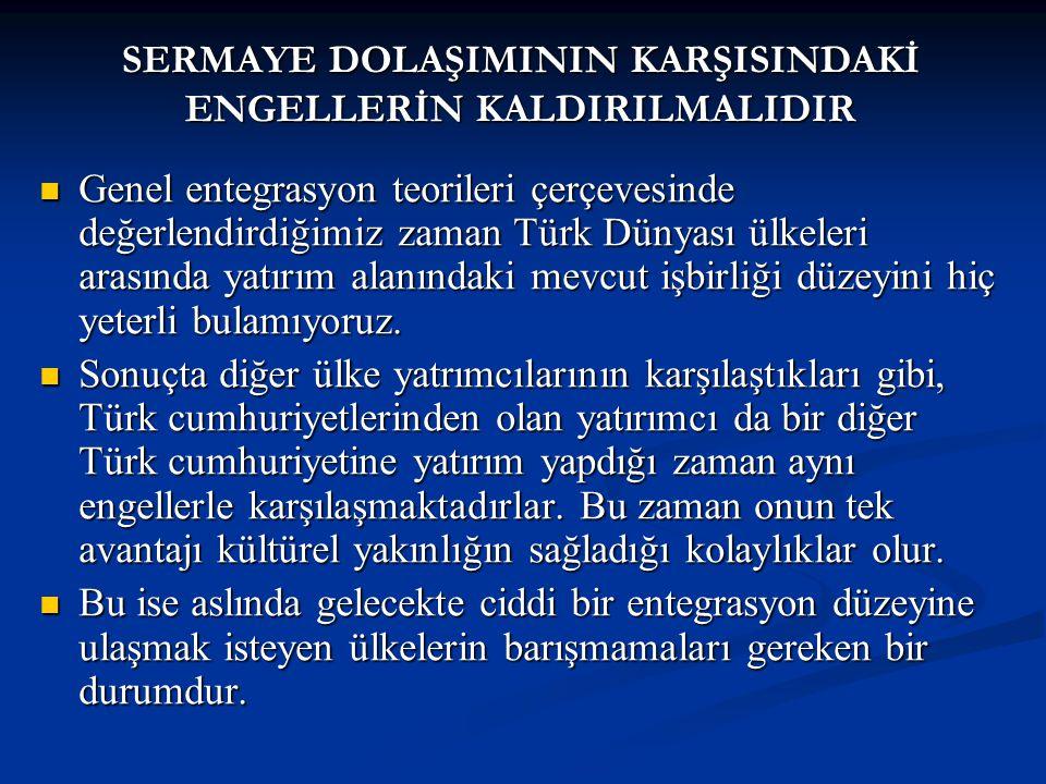 Genel entegrasyon teorileri çerçevesinde değerlendirdiğimiz zaman Türk Dünyası ülkeleri arasında yatırım alanındaki mevcut işbirliği düzeyini hiç yeterli bulamıyoruz.