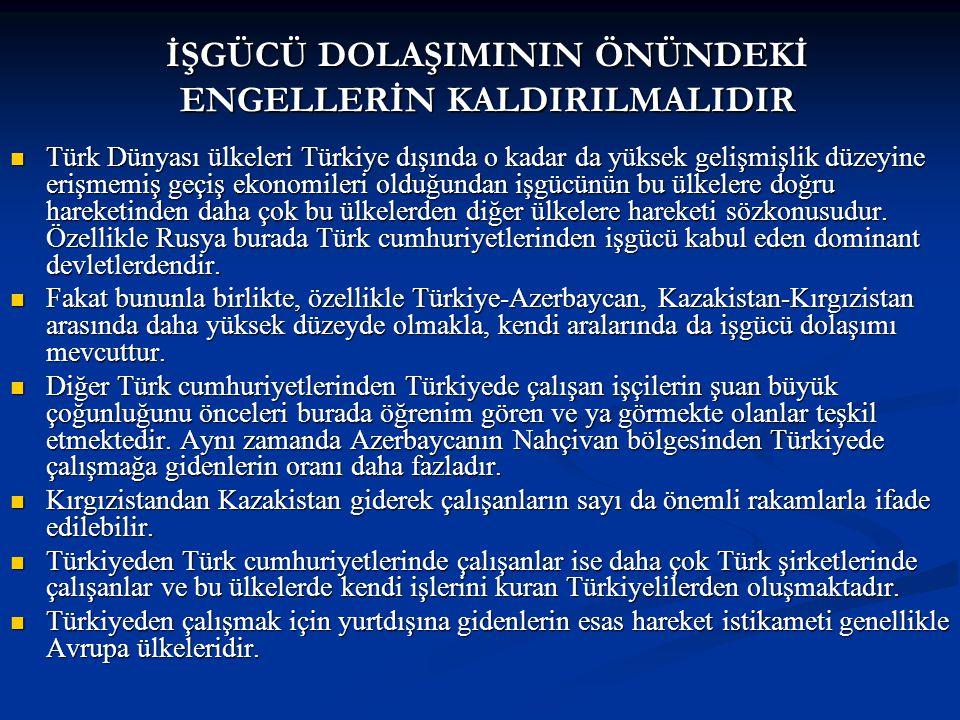 Türk Dünyası ülkeleri Türkiye dışında o kadar da yüksek gelişmişlik düzeyine erişmemiş geçiş ekonomileri olduğundan işgücünün bu ülkelere doğru hareketinden daha çok bu ülkelerden diğer ülkelere hareketi sözkonusudur.