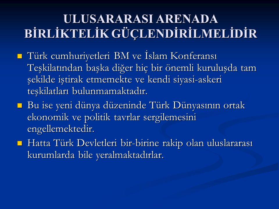 ULUSARARASI ARENADA BİRLİKTELİK GÜÇLENDİRİLMELİDİR Türk cumhuriyetleri BM ve İslam Konferansı Teşkilatından başka diğer hiç bir önemli kuruluşda tam şekilde iştirak etmemekte ve kendi siyasi-askeri teşkilatları bulunmamaktadır.
