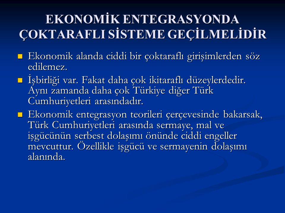 EKONOMİK ENTEGRASYONDA ÇOKTARAFLI SİSTEME GEÇİLMELİDİR Ekonomik alanda ciddi bir çoktaraflı girişimlerden söz edilemez.