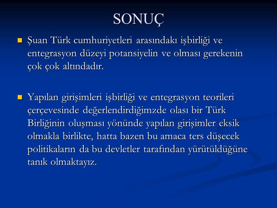 SONUÇ Şuan Türk cumhuriyetleri arasındakı işbirliği ve entegrasyon düzeyi potansiyelin ve olması gerekenin çok çok altındadır.