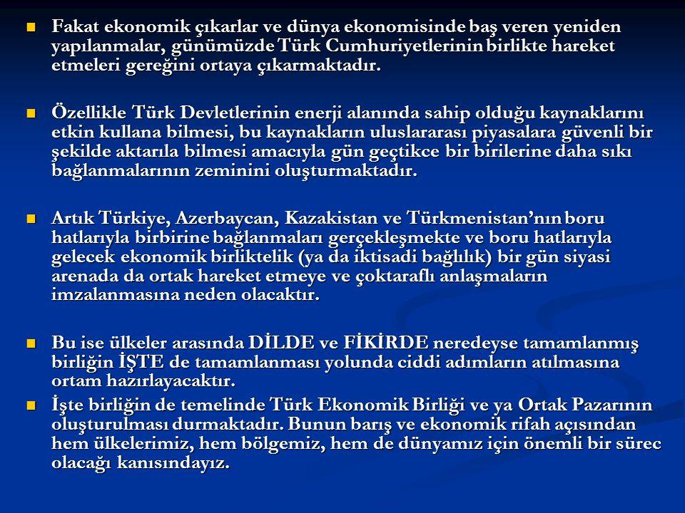 Fakat ekonomik çıkarlar ve dünya ekonomisinde baş veren yeniden yapılanmalar, günümüzde Türk Cumhuriyetlerinin birlikte hareket etmeleri gereğini ortaya çıkarmaktadır.