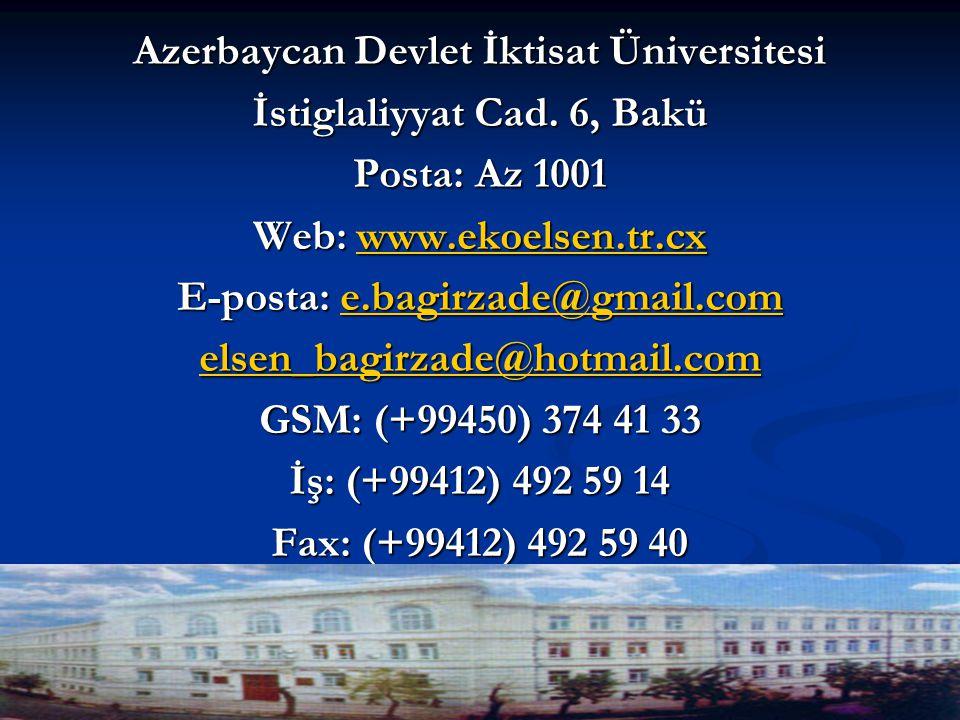 Azerbaycan Devlet İktisat Üniversitesi İstiglaliyyat Cad.