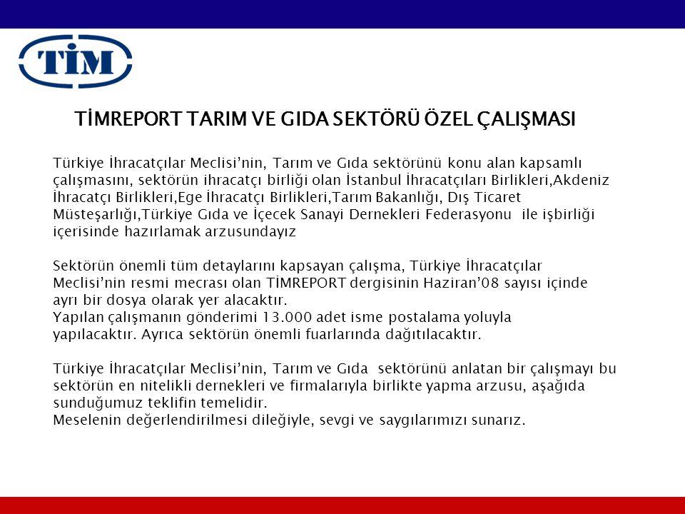 TİMREPORT TARIM VE GIDA SEKTÖRÜ ÖZEL ÇALIŞMASI Türkiye İhracatçılar Meclisi'nin, Tarım ve Gıda sektörünü konu alan kapsamlı çalışmasını, sektörün ihracatçı birliği olan İstanbul İhracatçıları Birlikleri,Akdeniz İhracatçı Birlikleri,Ege İhracatçı Birlikleri,Tarım Bakanlığı, Dış Ticaret Müsteşarlığı,Türkiye Gıda ve İçecek Sanayi Dernekleri Federasyonu ile işbirliği içerisinde hazırlamak arzusundayız Sektörün önemli tüm detaylarını kapsayan çalışma, Türkiye İhracatçılar Meclisi'nin resmi mecrası olan TİMREPORT dergisinin Haziran'08 sayısı içinde ayrı bir dosya olarak yer alacaktır.
