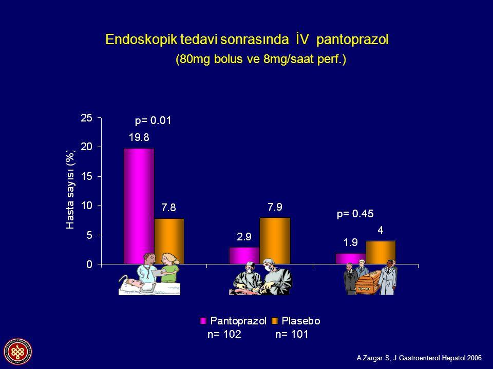 Endoskopik tedavi sonrasında İV pantoprazol (80mg bolus ve 8mg/saat perf.) n= 102 n= 101 p= 0.01 p= 0.12 p= 0.45 A Zargar S, J Gastroenterol Hepatol 2006