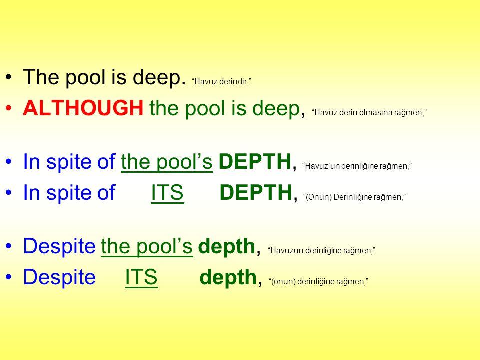"The pool is deep. ""Havuz derindir."" ALTHOUGH the pool is deep, ""Havuz derin olmasına rağmen,"" In spite of the pool's DEPTH, ""Havuz'un derinliğine rağm"