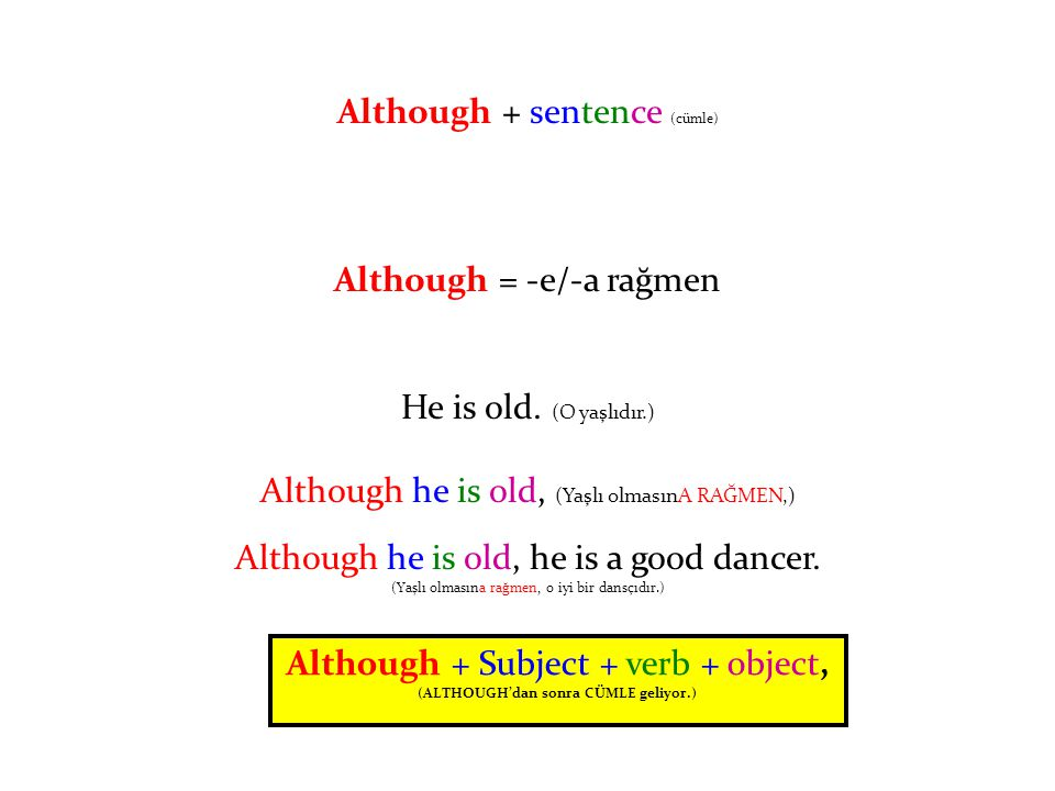 Although + sentence (cümle) Although = -e/-a rağmen He is old. (O yaşlıdır.) Although he is old, (Yaşlı olmasınA RAĞMEN,) Although he is old, he is a