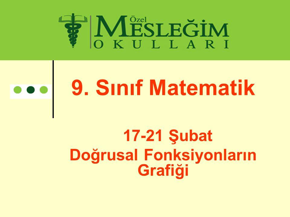 9. Sınıf Matematik 17-21 Şubat Doğrusal Fonksiyonların Grafiği