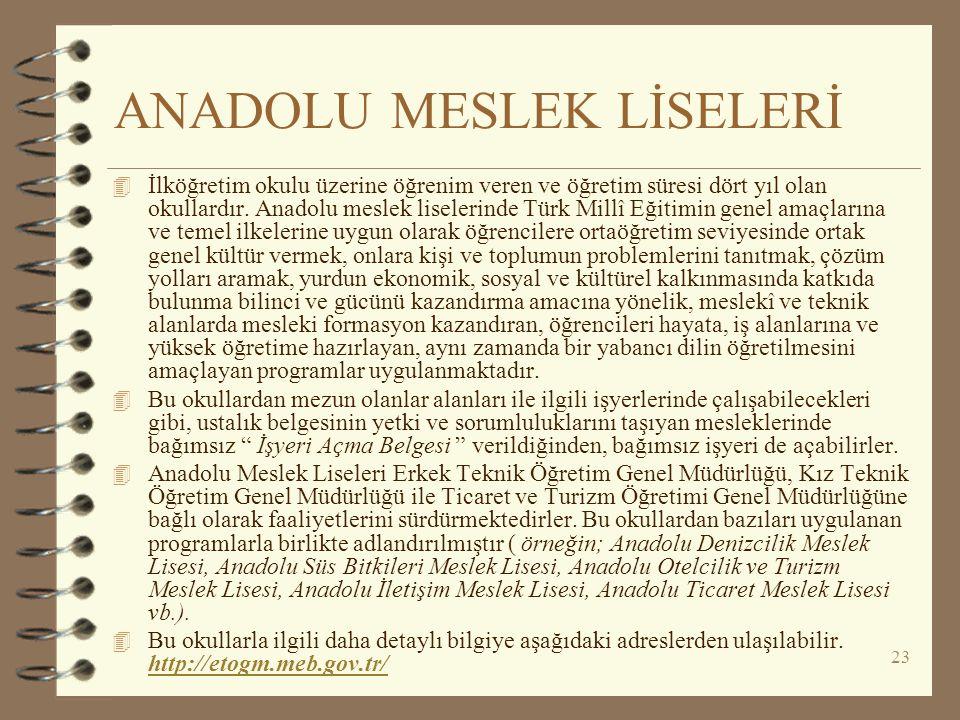 23 ANADOLU MESLEK LİSELERİ 4 İlköğretim okulu üzerine öğrenim veren ve öğretim süresi dört yıl olan okullardır. Anadolu meslek liselerinde Türk Millî