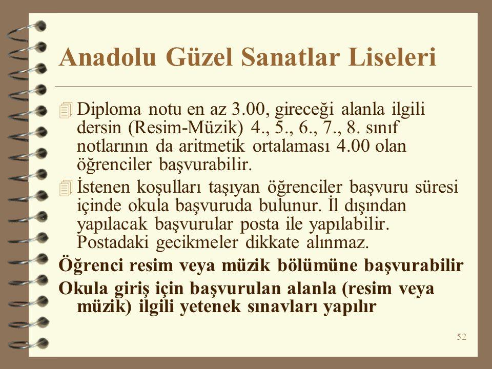 52 Anadolu Güzel Sanatlar Liseleri 4 Diploma notu en az 3.00, gireceği alanla ilgili dersin (Resim-Müzik) 4., 5., 6., 7., 8. sınıf notlarının da aritm