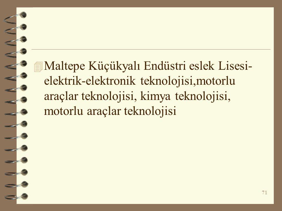71 4 Maltepe Küçükyalı Endüstri eslek Lisesi- elektrik-elektronik teknolojisi,motorlu araçlar teknolojisi, kimya teknolojisi, motorlu araçlar teknoloj