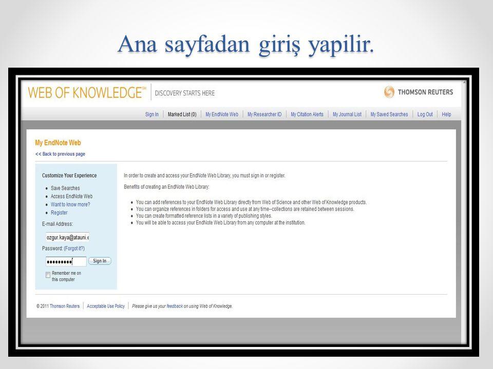 Cite While You Wriye Plug-In: Endnote web kütüphanesindeki referanslar makale veya tez yazarken kaynaklar bölümüne eklenebilmektedir.