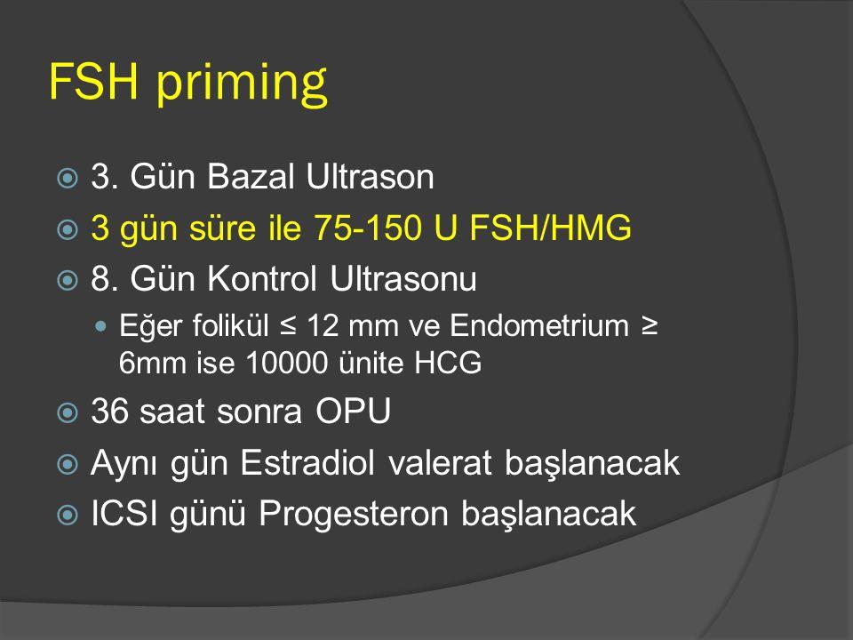 FSH priming  3. Gün Bazal Ultrason  3 gün süre ile 75-150 U FSH/HMG  8. Gün Kontrol Ultrasonu Eğer folikül ≤ 12 mm ve Endometrium ≥ 6mm ise 10000 ü