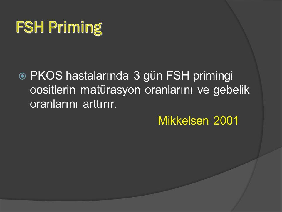  PKOS hastalarında 3 gün FSH primingi oositlerin matürasyon oranlarını ve gebelik oranlarını arttırır. Mikkelsen 2001