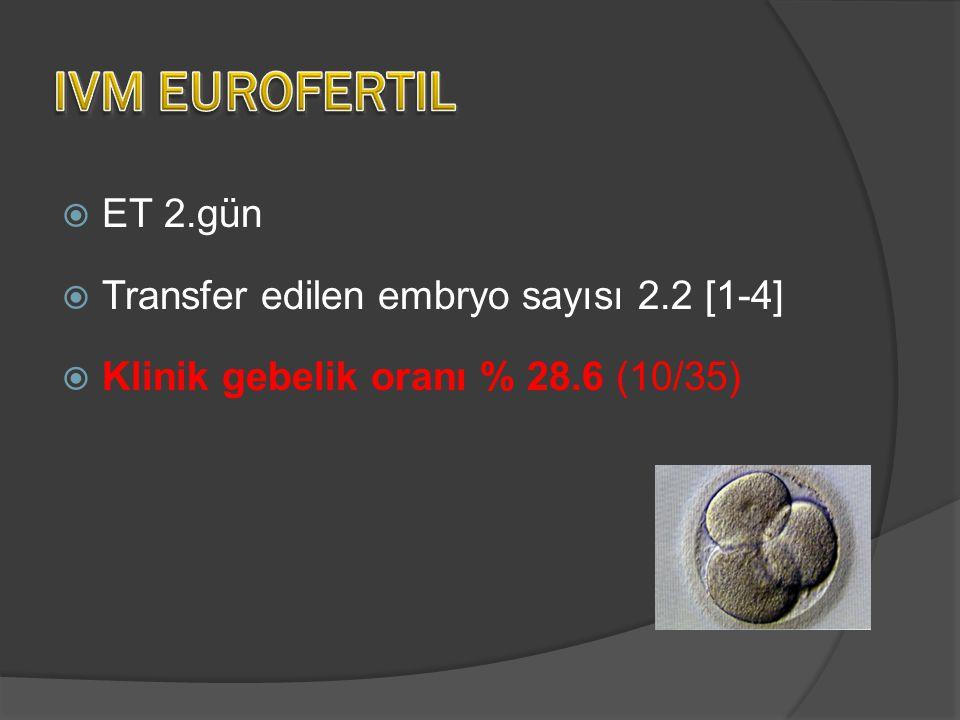  ET 2.gün  Transfer edilen embryo sayısı 2.2 [1-4]  Klinik gebelik oranı % 28.6 (10/35)