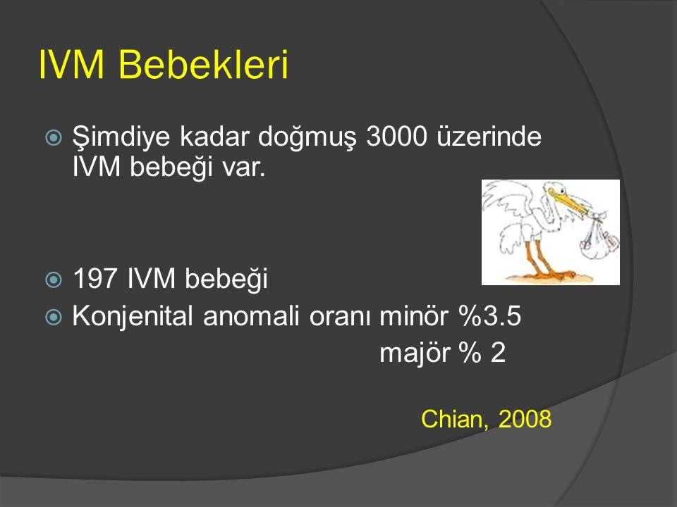 IVM Bebekleri  Şimdiye kadar doğmuş 3000 üzerinde IVM bebeği var.  197 IVM bebeği  Konjenital anomali oranıminör %3.5 majör % 2 Chian, 2008