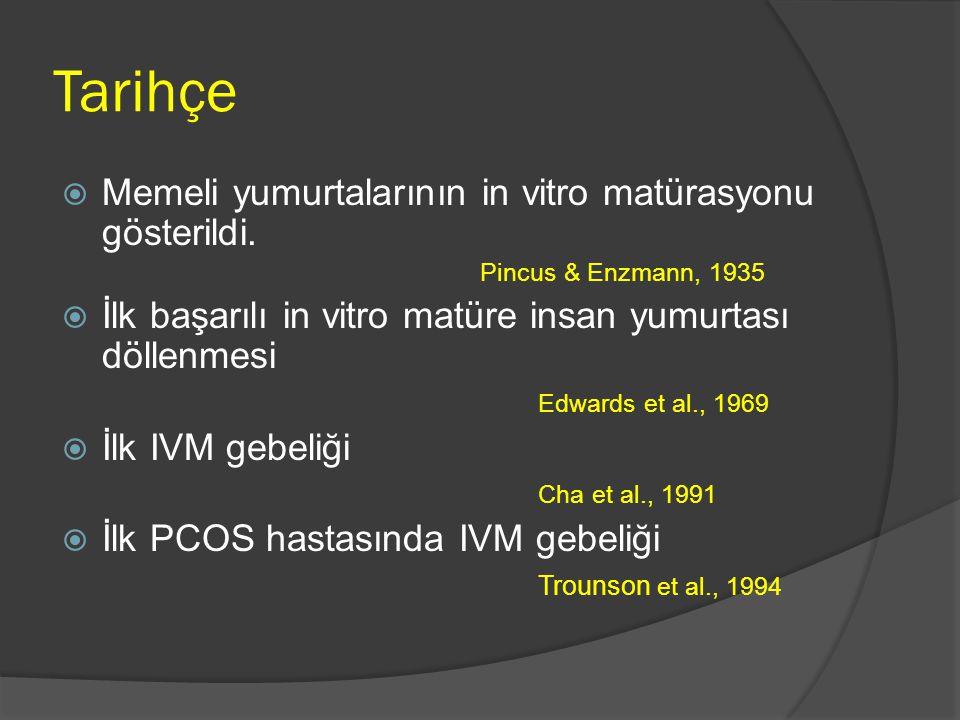 Tarihçe  Memeli yumurtalarının in vitro matürasyonu gösterildi. Pincus & Enzmann, 1935  İlk başarılı in vitro matüre insan yumurtası döllenmesi Edwa