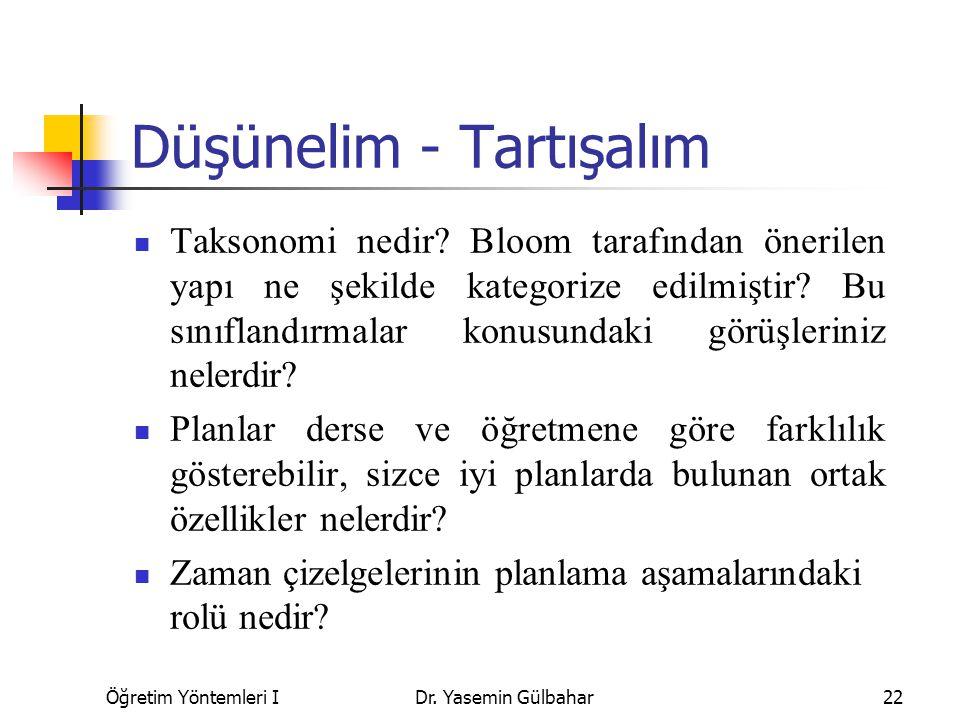 Öğretim Yöntemleri IDr. Yasemin Gülbahar22 Düşünelim - Tartışalım Taksonomi nedir? Bloom tarafından önerilen yapı ne şekilde kategorize edilmiştir? Bu