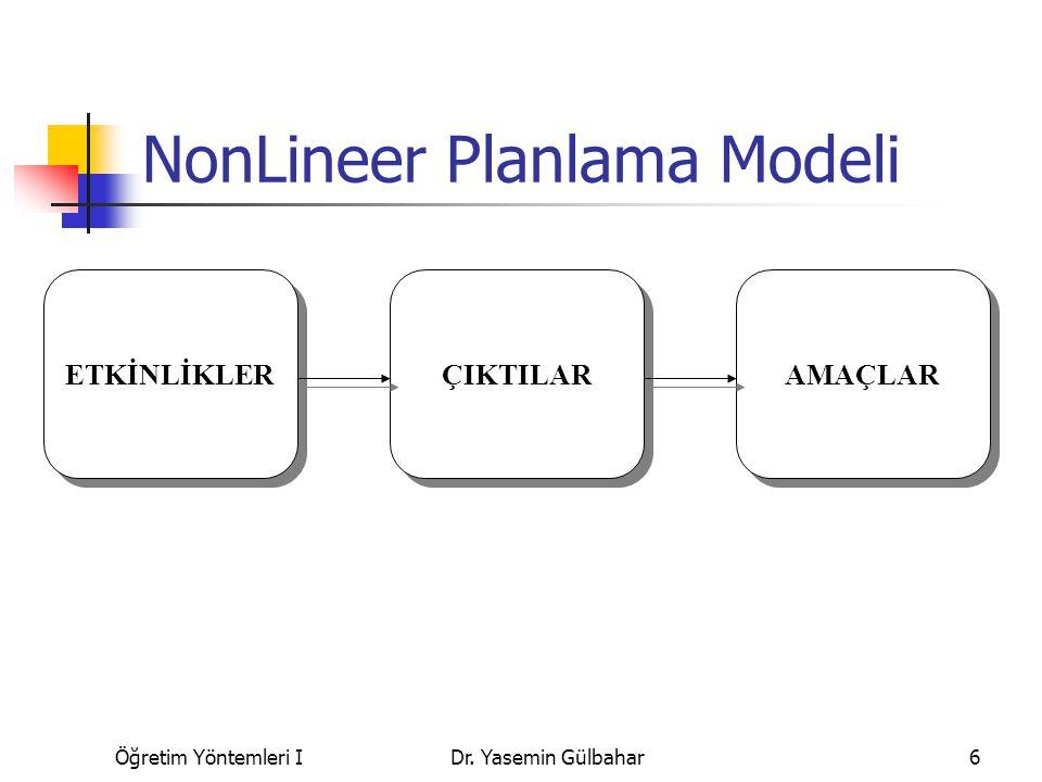 Öğretim Yöntemleri IDr. Yasemin Gülbahar6 NonLineer Planlama Modeli AMAÇLAR ÇIKTILAR ETKİNLİKLER