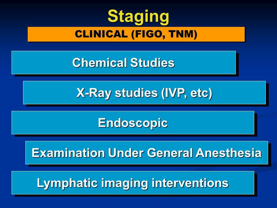 Staging CLINICAL (FIGO, TNM) CLINICAL (FIGO, TNM) Chemical Studies X-Ray studies (IVP, etc) EndoscopicEndoscopic Examination Under General Anesthesia