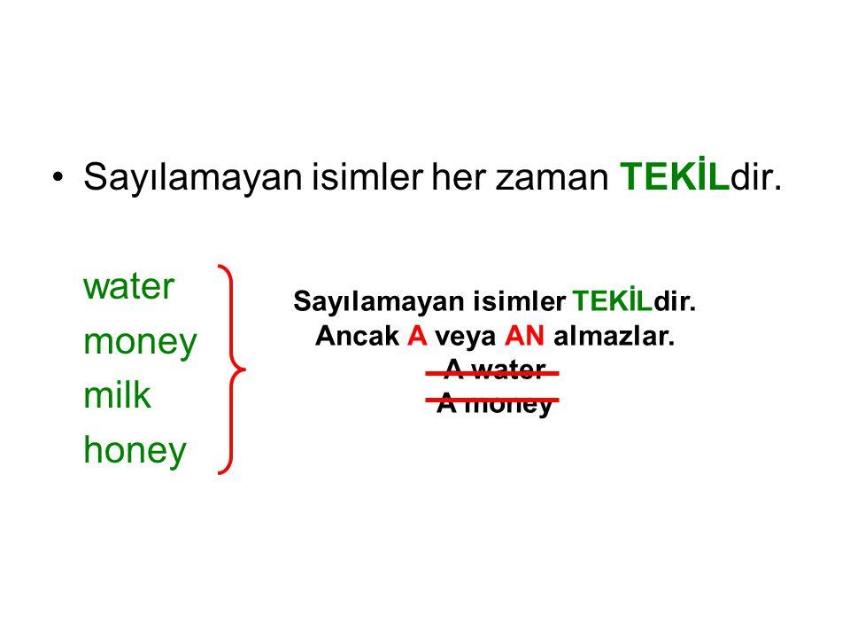 Sayılamayan isimler her zaman TEKİLdir. water money milk honey Sayılamayan isimler TEKİLdir. Ancak A veya AN almazlar. A water A money