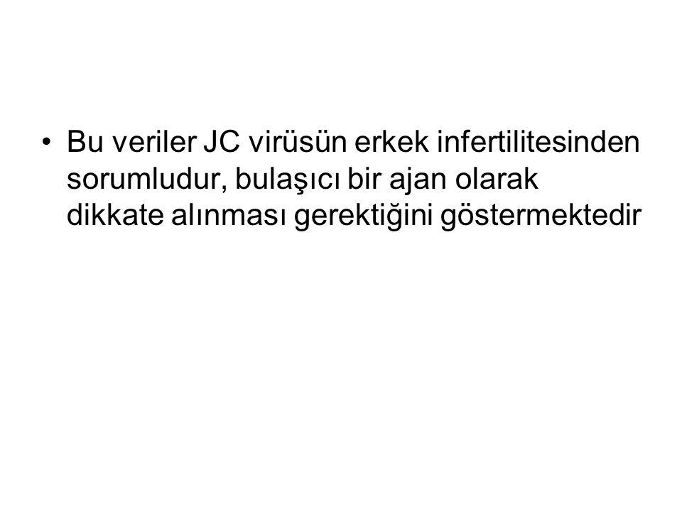 Bu veriler JC virüsün erkek infertilitesinden sorumludur, bulaşıcı bir ajan olarak dikkate alınması gerektiğini göstermektedir