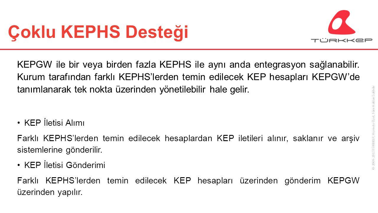 © 2009-2013 TÜRKKEP, Hizmete Özel, Tüm Hakları Saklıdır Çoklu KEPHS Desteği KEPGW ile bir veya birden fazla KEPHS ile aynı anda entegrasyon sağlanabil