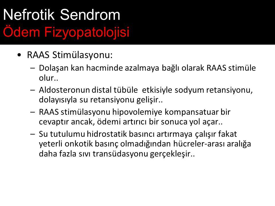 Nefrotik Sendrom Ödem Fizyopatolojisi RAAS Stimülasyonu: –Dolaşan kan hacminde azalmaya bağlı olarak RAAS stimüle olur..