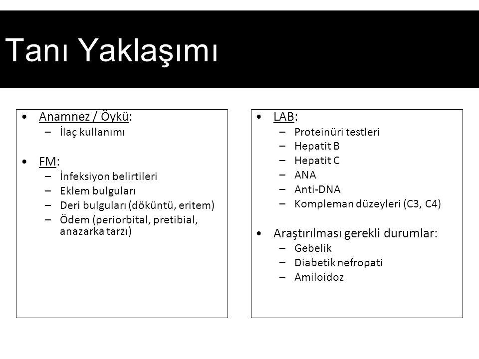 Tanı Yaklaşımı Anamnez / Öykü: –İlaç kullanımı FM: –İnfeksiyon belirtileri –Eklem bulguları –Deri bulguları (döküntü, eritem) –Ödem (periorbital, pretibial, anazarka tarzı) LAB: –Proteinüri testleri –Hepatit B –Hepatit C –ANA –Anti-DNA –Kompleman düzeyleri (C3, C4) Araştırılması gerekli durumlar: –Gebelik –Diabetik nefropati –Amiloidoz